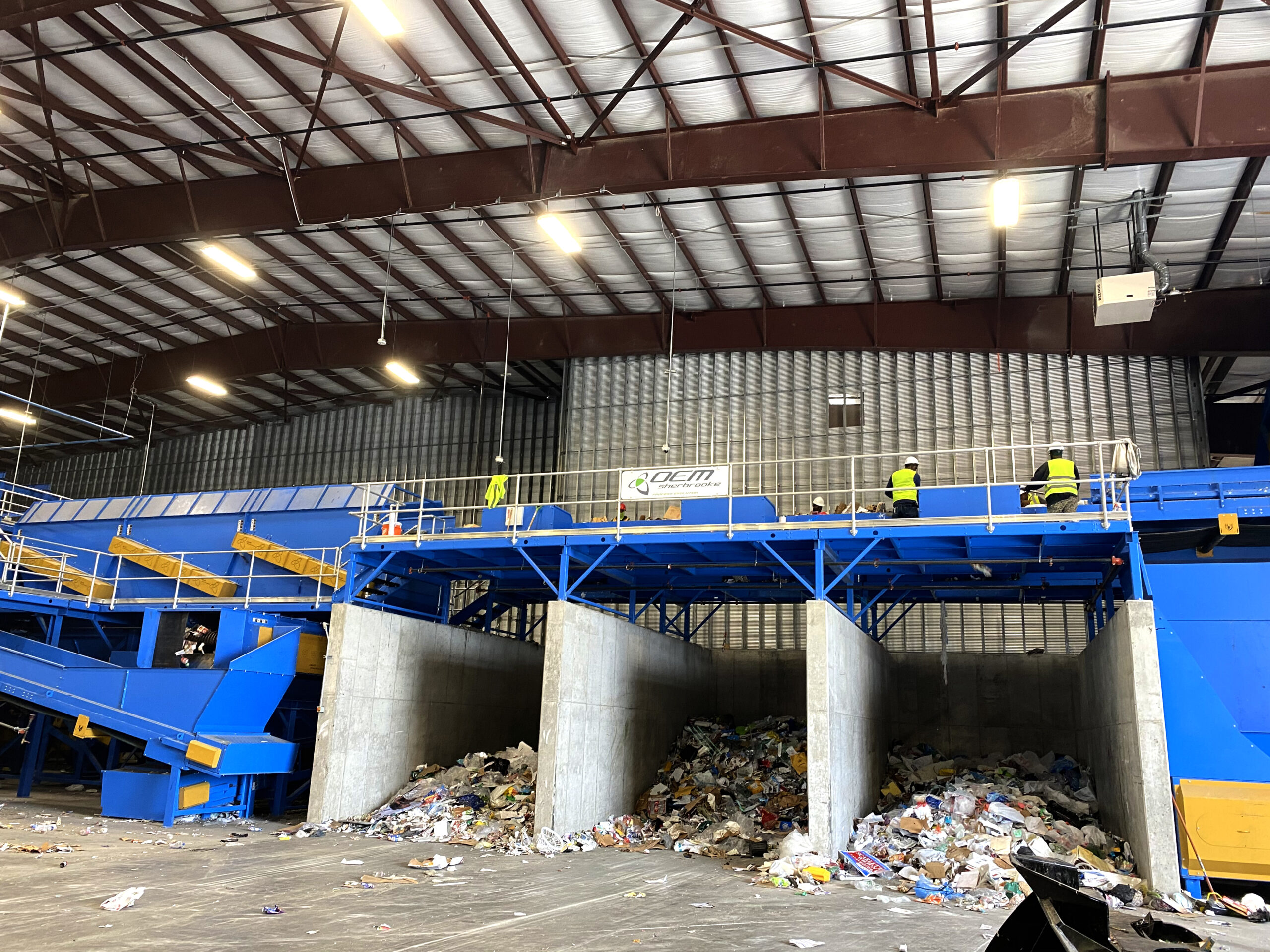 blue interior in a recycling facility